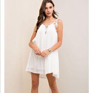 Entro white bohemian flowy dress